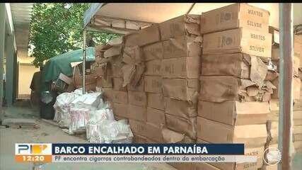 PF encontra cigarros contrabandeados em embarcação encalhada no litoral do Piauí