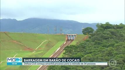 Defesa Civil vai começar retirada de moradores de casas em Barão de Cocais