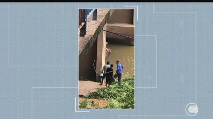 Motorista tenta fugir de acidente, se joga da ponte em Teresina e é socorrido pelo Samu