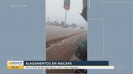 Chuva forte de domingo deixou ruas e casas alagadas em Macapá
