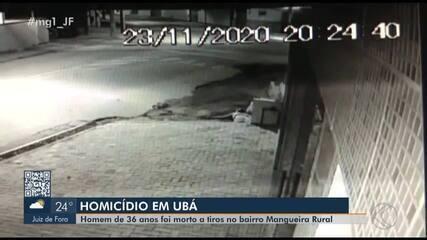 Homem é morto a tiros em Ubá e crime é registrado por câmera de segurança; veja vídeo