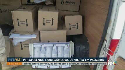 PRF apreende mil garrafas de vinho na BR-277, em Palmeira