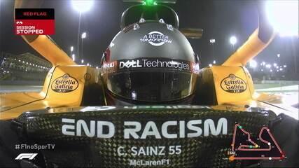 Sainz roda e não consegue deixar a pista no treino oficial do GP Barein
