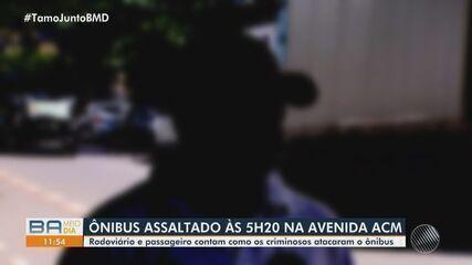 Ônibus são assaltados em diversos pontos de Salvador; em um dos casos, homem foi agredido