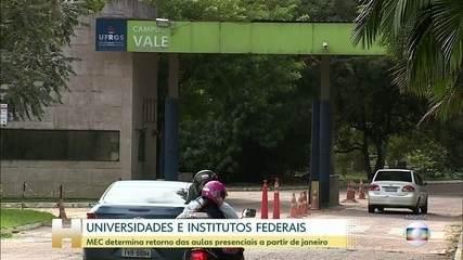 MEC determinou o retorno às aulas presenciais nas universidades federais em janeiro