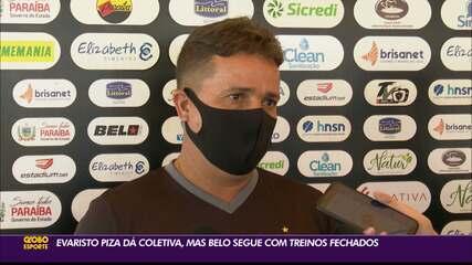 Evaristo Piza aparece em coletiva, mas Botafogo-PB segue treinando com portões fechados