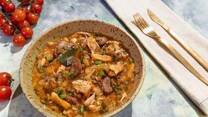 Galinhada com lentilhas e damasco