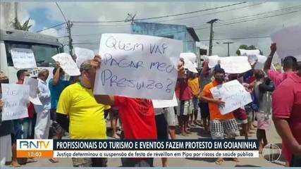 Profissionais de eventos e turismo fazem protesto em Goianinha