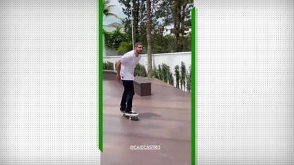 Letícia Bufoni mostra lado skatista de Caio Castro