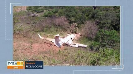 Avião sai da pista e cai em ribanceira, em Diamantina
