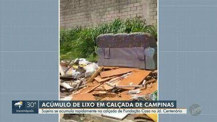 'Calendário': calçada perto da Fundação Casa, em Campinas, acumula lixo e entulho