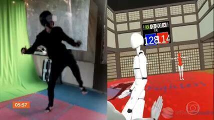 Campeã pan-americana adapta jogo virtual em treino de taekwondo para Olimpíada