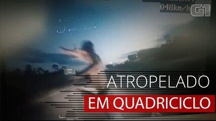 VÍDEO: Imagem mostra homem sendo atropelado quando pilotava quadriciclo infantil em GO