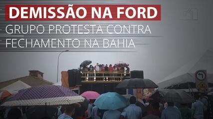 VÍDEO: Grupo protesta contra fechamento de fábrica da Ford em Camaçari, na BA
