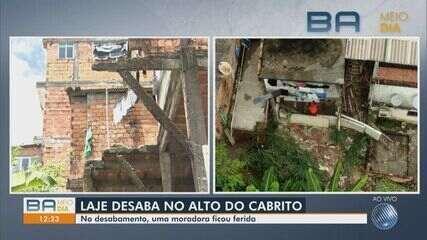 Laje de imóvel desaba e mulher fica ferida no Alto do Cabrito, na região do Subúrbio