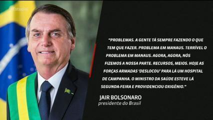 'Terrível o problema em Manaus. Agora, nós fizemos a nossa parte', diz Jair Bolsonaro