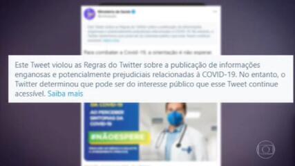 Twitter faz alerta de informação enganosa em postagem do Ministério da Saúde