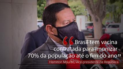 Brasil tem vacina contratada para imunizar 70% da população até o fim do ano, diz Mourão