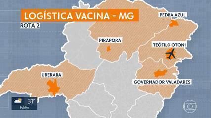 Logística de distribuição das vacinas em Minas inclui aeronaves e caminhões