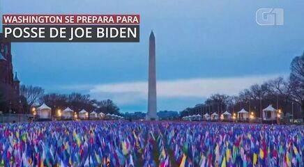 VÍDEO: timelapse mostra esplanada de Washington DC sendo coberta por bandeiras americanas