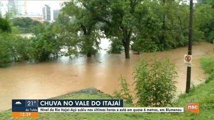 Nível do Rio Itajaí-Açú subiu nas últimas horas em Blumenau