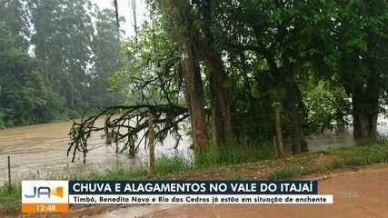 Timbó, Benedito Novo e Rio dos Cedros já estão em situação de enchente