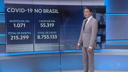 Brasil ultrapassa os 215 mil mortos por Covid-19