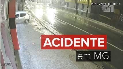 Motorista com sintomas de embriaguez bate carro em loja na Avenida Pedro II, em BH