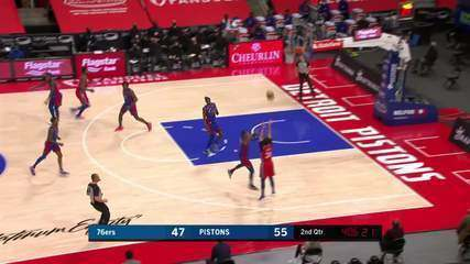 Melhores Momentos: Philadelphia 76ers 114 x 110 Detroit Pistons pela NBA