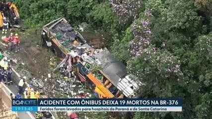 Acidente com ônibus deixa 19 mortos na BR-376