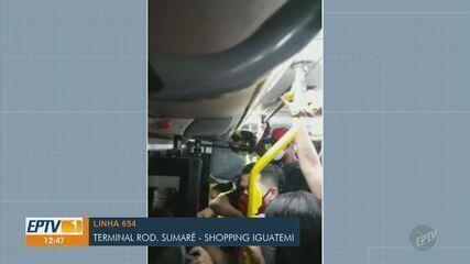Passageiros registram lotações em ônibus que passam por shoppings de Campinas