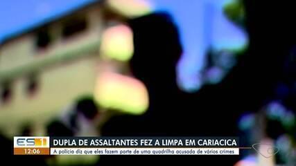 Dupla foi presa suspeita de fazer assaltos com carro roubado em Cariacica
