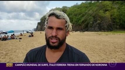 Campeão mundial de surfe, Italo Ferreira treina em Fernando de Noronha