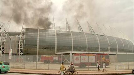 Incêndio atinge a Arena Castelão, em Fortaleza