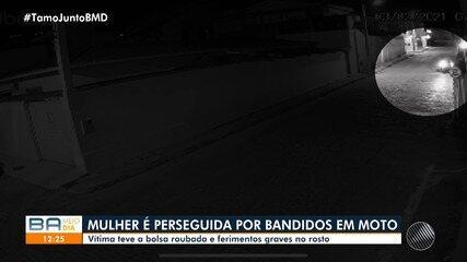 Mulher é perseguida por dois bandidos em moto na cidade de Jacobina