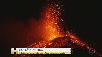 Vulcão Etna entra em erupção e provoca leves tremores na Itália