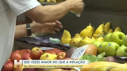 Frutas sobem quase seis vezes mais do que a inflação nos últimos 12 meses