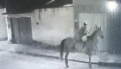 Imagens mostram homem em um cavalo assaltando mulher na Cidade Universitária, em Maceió