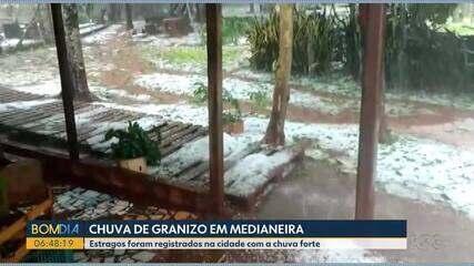 Chuva forte e granizo causam estragos em Medianeira