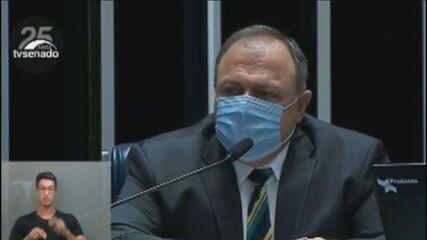 'Toda a população apta vai ser vacinada em 2021', diz Pazuello no Senado
