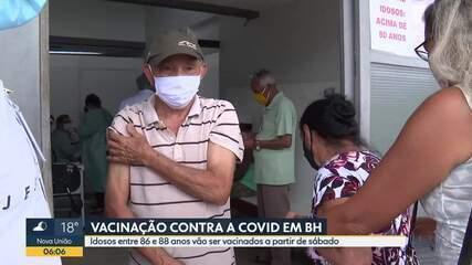 Idosos entre 86 e 88 anos vão ser vacinados contra a Covid-19, a partir de sábado, em BH