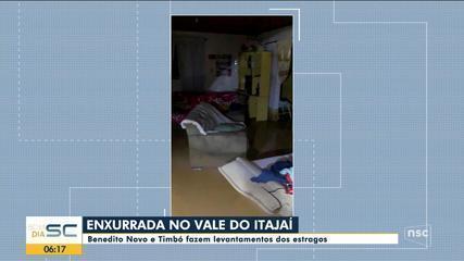 Benedito Novo e Timbó fazem levantamentos dos estragos por causa da enxurrada