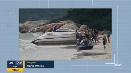Temporal arrasta lanchas na Grande Florianópolis