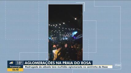 Madrugada de sábado teve aglomeração na Praia do Rosa, em Imbituba