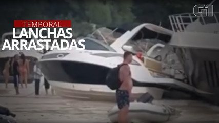 VÍDEO: Imagens mostram lanchas sendo arrastadas durante tempestade em SC