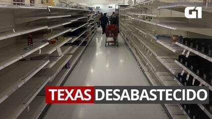 VÍDEO: Supermercado no Texas desabastecido e longas filas para comprar itens básicos