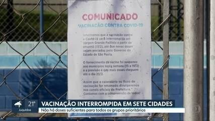 Sete cidades da Grande SP suspenderam vacinação contra covid-19 por falta de doses