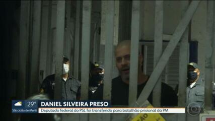 Daniel Silveira está preso em um batalhão prisional da PM