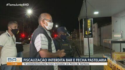 Fiscalização interdita estabelecimentos abertos durante toque de recolher na Bahia