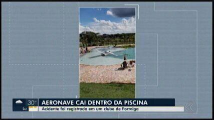 Três pessoas ficam feridas após avião monomotor cair em resort em Formiga